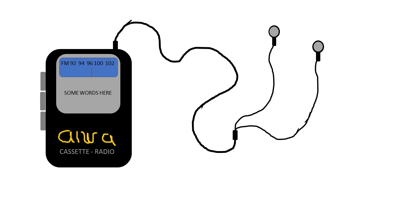 cassette player drawing via Microsoft Paint program